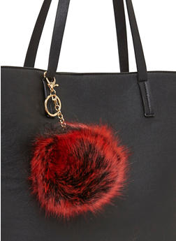 Faux Fur Dyed Tips Pom Pom Key Chain - RED - 1163067447005