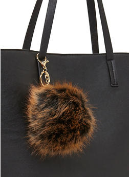 Faux Fur Dyed Tips Pom Pom Key Chain - ORANGE - 1163067447005