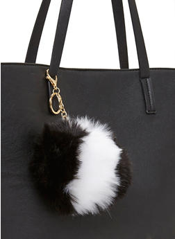 Color Block Faux Fur Pom Pom Key Chain - 1163067447006