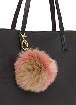 Color Block Faux Fur Pom Pom Key Chain - 1163067447006