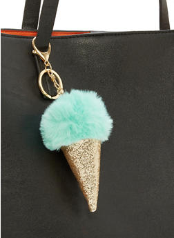 Glitter Faux Fur Ice Cream Cone Keychain - 1163067447037