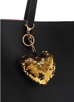 Reversible Sequin Heart Keychain - 1163067447043