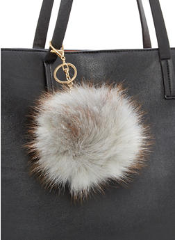 Two Tone Faux Fur Pom Pom Keychain - 1163067447045