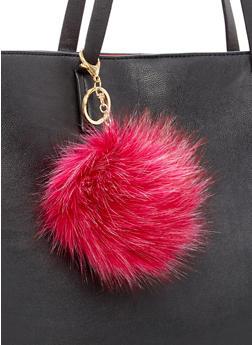 Two Tone Faux Fur Pom Pom Keychain - 1163067447045