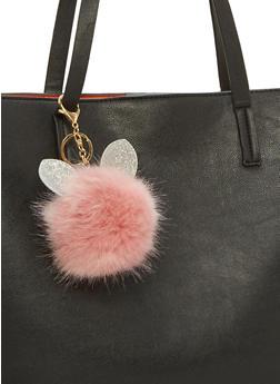 Glitter Ears Pom Pom Key Chain - 1163067447046
