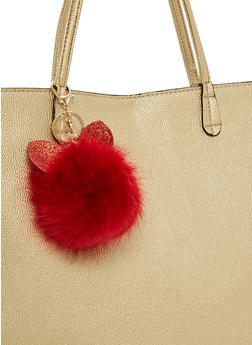Glitter Ears Pom Pom Key Chain - 1163067447046