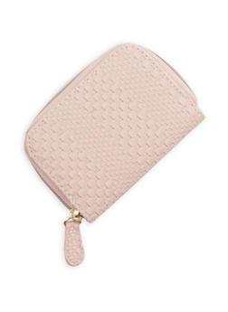 Mini Woven Faux Leather Zip Wallet - 1163067447131