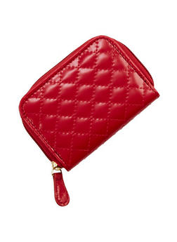 Mini Quilted Faux Leather Zip Wallet - 1163067447132