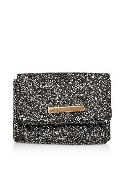Glitter Card Wallet with Metallic Bar Accent - 1163067447733