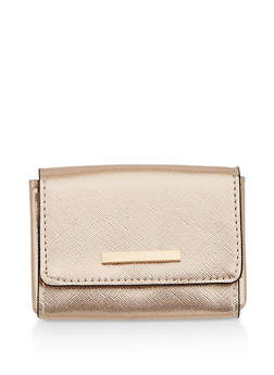 Textured Faux Leather Card Wallet - 1163067447755