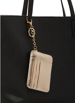 Faux Saffiano Leather Keychain Card Holder - 1163067448003