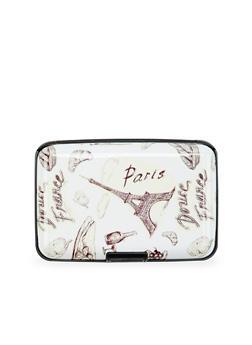 Card Holder Wallet with Parisian Print - 1163067448139