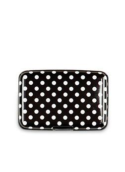 Card Holder Wallet with Polka Dot Print - 1163067448145