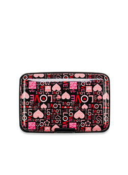 Card Holder Wallet with Love and Hearts Print - 1163067448146