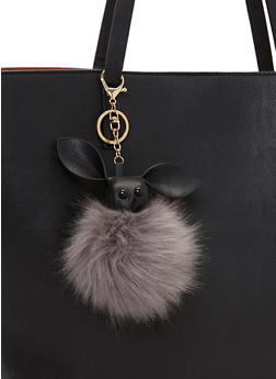 Bunny Pom Pom Key Chain - BLACK - 1163072340577