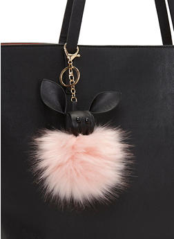 Bunny Pom Pom Key Chain - BLUSH/BLACK - 1163072340577