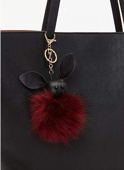 Bunny Pom Pom Key Chain - BURGUNDY/BLACK - 1163072340577