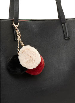 Keychain with Faux Fur Pom Pom Trio - BURGUNDY COMBINATION - 1163072341680