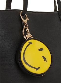 Winking Smiley Face Emoji Coin Purse Keychain - 1163073401021