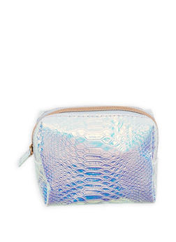 Holographic Textured Faux Leather Pouch - 1163074112414