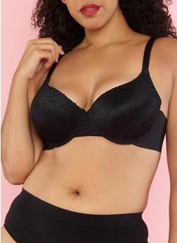 Plus Size Lace Overlay Padded Bra - 1169059290187