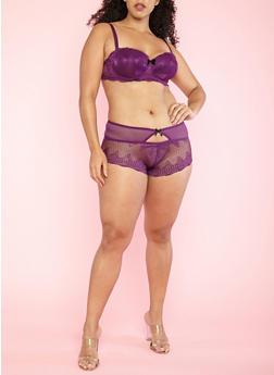 Plus Size Purple Lace Bra - 1169064872219