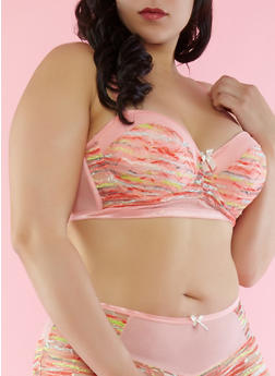 Plus Size Printed Lace and Mesh Padded Bra - 1169064873187