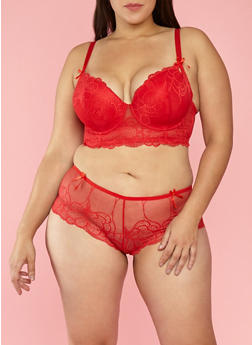Plus Size Long Line Lace Bra - 1169068060139