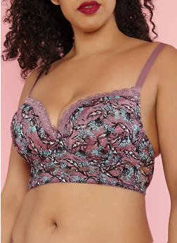 Plus Size Floral Lace Padded Bra - 1169068062051