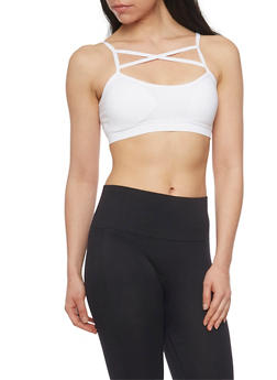 Caged Neck Padded Sports Bra with Lattice Back - WHITE - 1172064876051