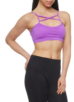 Caged Neck Padded Sports Bra with Lattice Back - GRAPE - 1172064876051