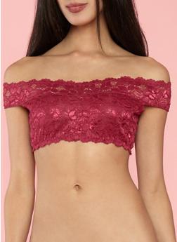 Off the Shoulder Lace Bralette - BEAUJOLAIS (WINE) - 1172068062050