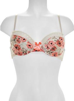 Floral Print Lace Trim Bra - 1175064878029