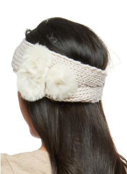 Buttoned Knit Headwrap with Pom Pom Accent - 1183042740028
