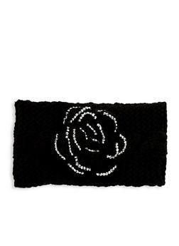 Rose Knit Headband - BLACK - 1183042740178