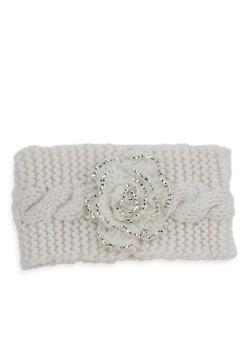 Rose Knit Headband - WHITE - 1183042740178