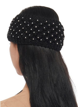 Knit Headband with Metallic Studs - BLACK - 1183042740800