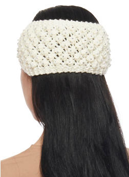 Knit Headband with Metallic Studs - IVORY - 1183042740800