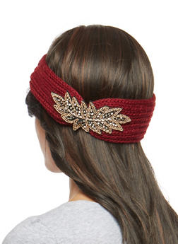 Beaded Applique Knit Headband - 1183042740808