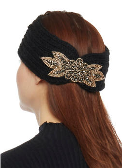 Knit Headband with Beaded Accent - BLACK - 1183042741820
