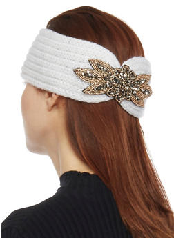 Knit Headband with Beaded Accent - WHITE - 1183042741820