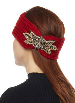 Knit Headband with Beaded Accent - BURGUNDY - 1183042741820