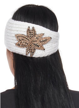 Knit Headband with Beaded Flower - WHITE - 1183042741900