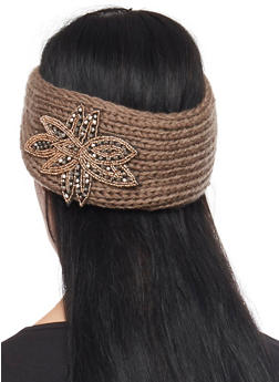Knit Headband with Beaded Flower - TAUPE - 1183042741900