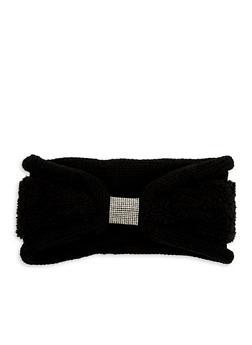 Rhinestone Center Faux Fur Knit Headband - BLACK/BLACK FUR - 1183042742222