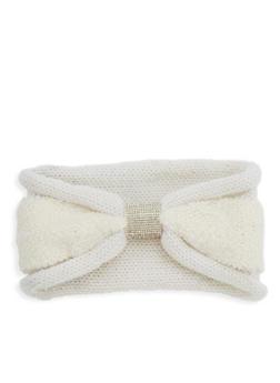 Rhinestone Center Faux Fur Knit Headband - 1183042742222