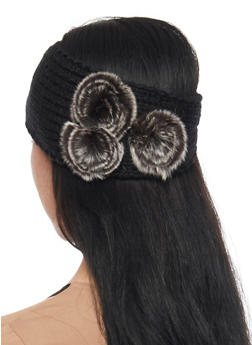 Knit Headband with Faux Fur Accents - BLACK - 1183042742800