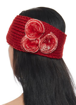 Knit Headband with Faux Fur Accents - BURGUNDY - 1183042742800