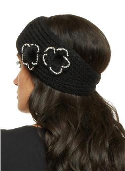 Knit Headband with Fuzzy Flowers - 1183042742900