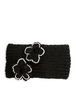 Flower Knitted Headband - BLACK - 1183042742929
